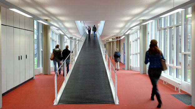 Students on the corridor of a university.